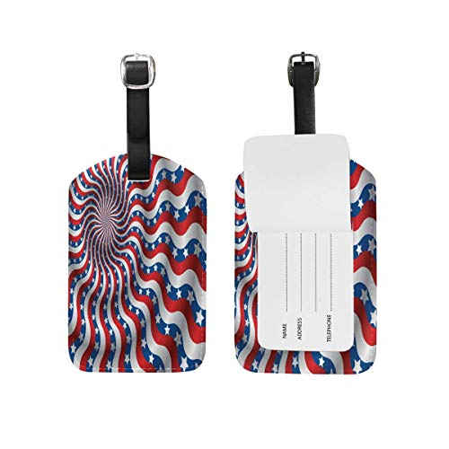 Luggage Tag USA Flag Abstraction Distorted by The Wind Travel Tag Name Card Holder for Baggage Suitcase Bag 1 Piece