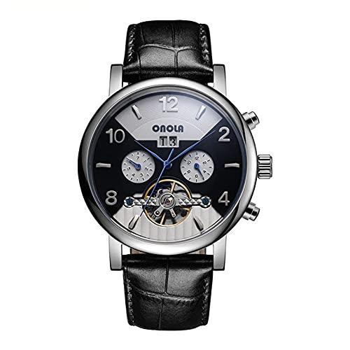 Shmtfa Reloj Pulsera MecáNico AutomáTico para Hombre Moda 3ATM CronóGrafo Impermeable con Correa Cuero Dial Calendario para DecoracióN Deportiva Juvenil(Negro + Blanco)