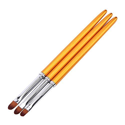 Nologo KYT-ma 3PCS Brosses à Ongles Art poignée en métal Acrylique UV Gel Extension Builder pétale de Fleur Peinture Dessin Pinceau manucure Outils à Ongles (Couleur : Gold 3pcs)