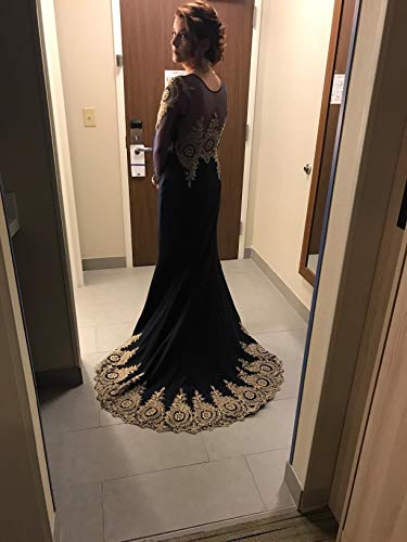 Women's Luxury Crystals Beaded Mermaid Prom Dresses With Long Sleeves, Black, 10