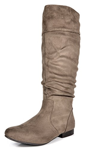 DREAM PAIRS Women's BLVD Taupe Knee High Pull On Fall Weather Boots Wide Calf Size 9 M US