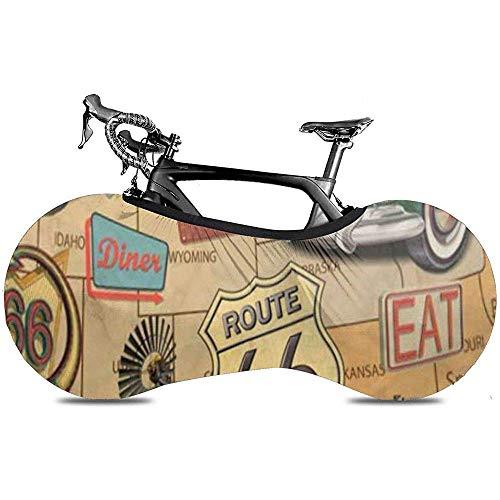 L.BAN Copriruota per Bicicletta Sweet-Heart, Durevole Protezione AntiGraffio per Proteggi Ruota per Bici - American Route 66 Diner Arizona Map