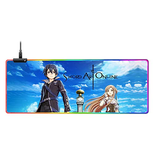 Sword Art Online Custom Mouse Pad RGB Anime Mouse Mat Home Office Computer Gaming Mousepad 4mm Thick 31.5x11.8 Inch
