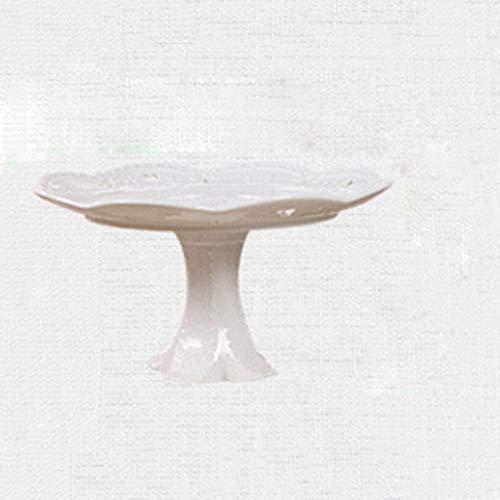 ZYING Plato de Fruta de cerámica en Relieve Blanco Plato de Pastel Plato de Aperitivos Plato de Dulces Plato de Porcelana Vajilla Plato de Fruta