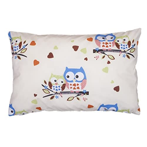 Amilian®, federa decorativa per cuscino, 40 cm x 60 cm, motivo con gufi, colore écru.