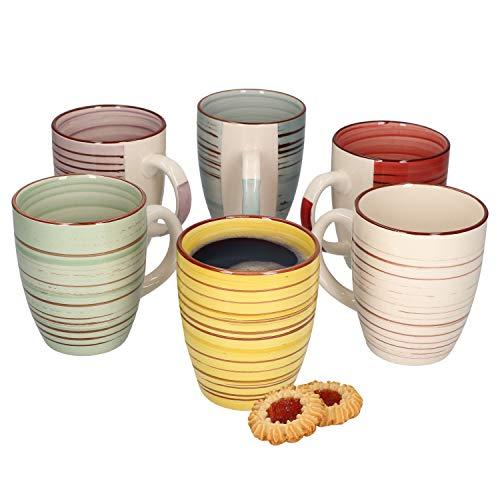 MamboCat 6er Set Kaffeebecher Rimini 300ml I handbemalt I in 6 tollen Farben I für Ihre liebsten Heißgetränke wie Kaffee, Kakao und Tee