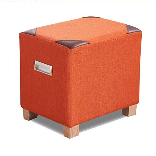 Coton et lin chaussures banc bois tissu siège carré stockage canapé reste salon balcon couloir multicolore en option 40 cm * 30 cm * 40 cm (Couleur : Orange)