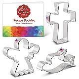 Set di formine per biscotti a tema religioso (3 pezzi) Ann Clark Cookie Cutters con ricettario, angelo, croce e colomba