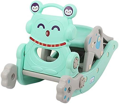 HUXIUPING Schaukelpferd Slide Kind Baby Spielzeug ZWeißin-One Baby Geburtstagsgeschenk Schaukelstuhl Trojaner (Farbe   Blau)