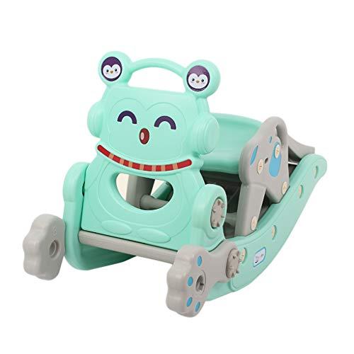 HUXIUPING Schaukelpferd Slide Kind Baby Spielzeug Zwei-in-One Baby Geburtstagsgeschenk Schaukelstuhl Trojaner (Color : Blue)