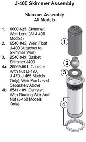 Hot Tub Classic Parts Spa Skimmer Canister Assembly with Nut Compatible with Most Jacuzzi Spas J-480, J-470, and J-465 20069-001