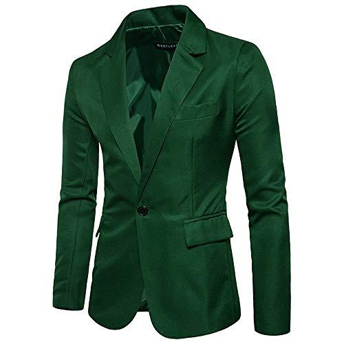 STRIR Chaqueta Slim Fit Chal Esmoquin de los Hombres Chaqueta Casual Un Botón Trajes Formales Abrigos Blazers de Negocios (L, Hierba Verde)