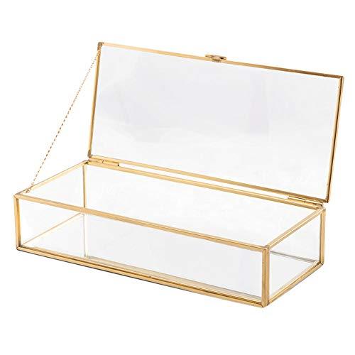 YHDNCG Caja de joyería,Organizador de caja de joyería de cristal,Soporte de exhibición,Pendientes Collar caja de almacenamiento de joyería,Caja de joyería