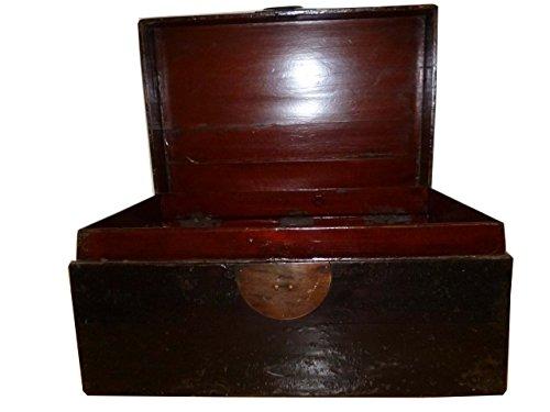OPIUM OUTLET Chinesische handbemalte antike Truhe Holzkiste Box Kästchen Vintage asiatisch aus China