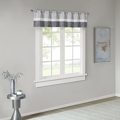 Madison Park Amherst Faux Silk Rod Pocket Curtain with Privacy Lining for Living Room, Window Drapes for Bedroom and Dorm, 50x18, Grey