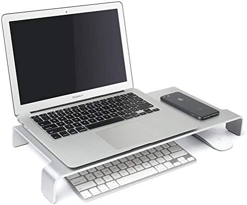 Large Monitor Screen Riser Stand for Computers, Laptops & TVs (Grey-Large),Silver-large