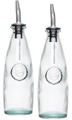 Vidrio reciclado, dispensador de aceite y vinagre 12oz- vinagreras ecológica con acero inoxidable pourer–2Pack