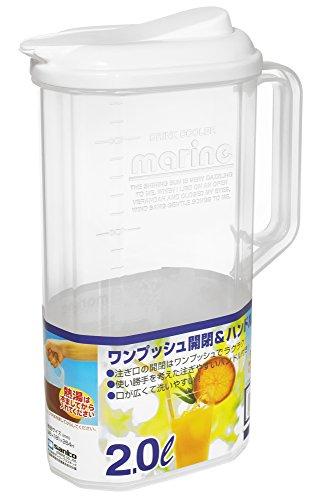 サンコープラスチック 日本製 麦茶ポット マリンクーラー ワンプッシュ 2L ホワイト