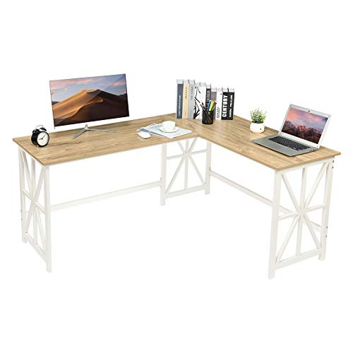 GreenForest Large L Shaped Computer Desk,63.8'' x 50''Corner Computer Desk for Home Office Industrial Heavy Duty Workstation, Oak