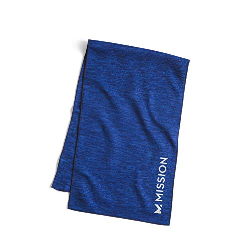 """MISSION Lite-Knit Cooling Towel Instant Evaporative Cooling, Lightweight Knit Fabric, Cools Instantly When Wet, UPF 50 Sun Protection, Yoga, Golf, Gym, Neck, 10"""" x 33""""- Royal Space Dye"""