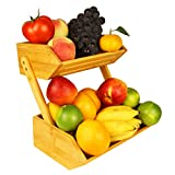 Bamboo Fruit Basket Holder Vegetable Storage Stand, 2 Tier Standing Basket Organizer for Kitchen, Home, Office, Dining Room, Supply Room and Guest Room