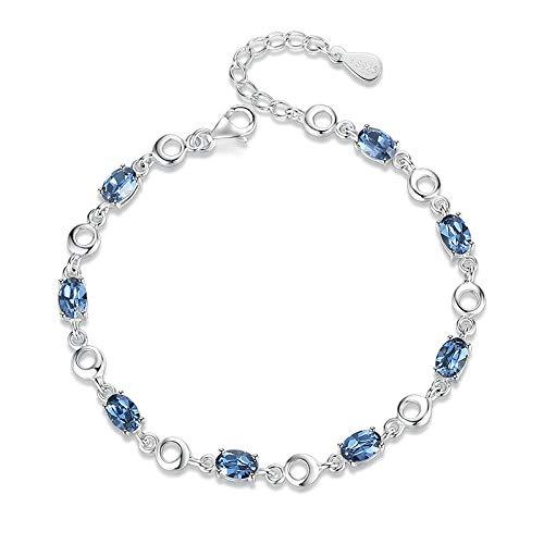 CHWEI Knitted Hat Armbänder Blaue Armbänder Weiblich 925 Sterling Silber Tiefblau Saphir Farbe Edelstein Armband für Student Geburtstagsgeschenk Dark Blue