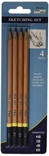 PRO Art 54119-197Pro-Art PA306100 Pro Art Sketching Pencils 4/Pkg-HB, 2B, 4B, 6B