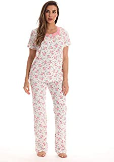 Image of Pretty Short Sleeve Floral Print Pajamas for Women - See More Colors