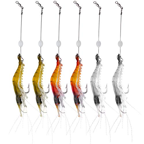 WANBY Artificial Silicone Soft Lures Shrimp Bait Set Kit Luminous Swimbait Shrimp Fishing Lures with Hook Fishing Tackle for Freshwater Saltwater Trout Bass Salmon (6PCS)