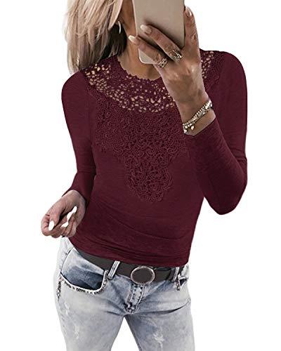 YOINS Sexy Oberteil Damen Langarmshirt Bluse Spitzenoberteil für Damen Dirndlbluse Spitzenbluse Mode Patchwork Tshirt Bluseshirt