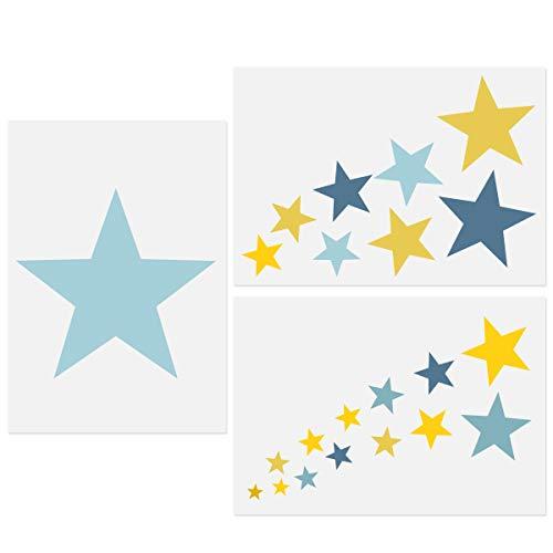 Stern Schablonen, 3 Stück Sterne Vorlagen A4 Größe Verschiedene Größen Sterne Cluster Wiederverwendbare Schablonen für DIY Basteln Malen Wohnkultur Kinder Kinderzimmer Schlafzimmer 21x30cm