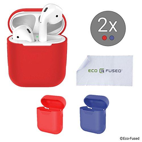 Eco-Fused Cover Protettiva Compatibile con Custodia Apple AirPods – Confezione da 2 (Rosso e Blu) – Skin in Silicone – Protegge la Custodia dei Tuoi AirPods da Graffi e Urti