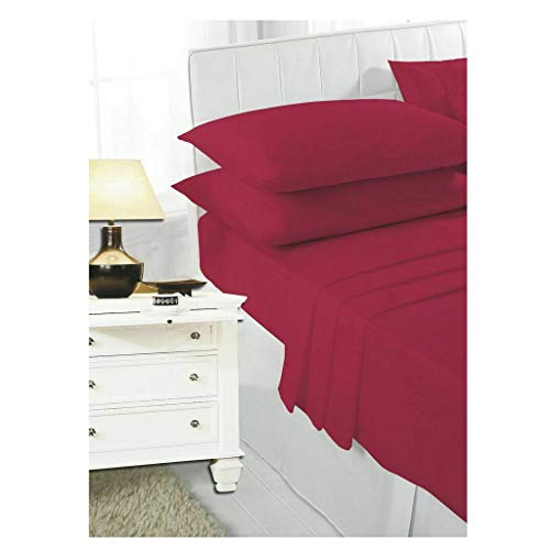 HOME ACE Non Iron Percale Fitted Sheet Bunk Beds Red, 180 Thread Count 100% Poly Cotton Bunk Bed Sheets, 2ft 6' Bunk Beds Sheet Polycotton Fitted Sheet Kids Bunk Bed Cotton Bunk Sheets Fitted