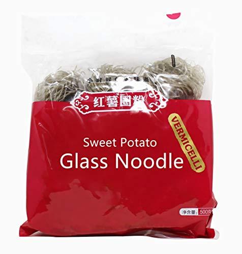 Sweet Potato Yams Cantonese Glass Noodles 17.64 Ounces(500g), Chinese Vermicelli Pasta, Fat-free Gluten-free 100% Sweet Potato Starch No Additive No Alum