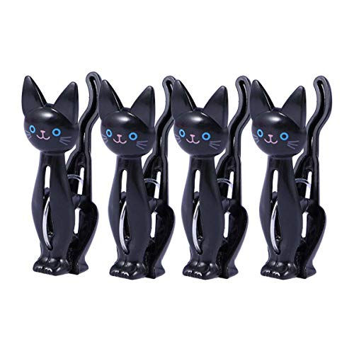 VORCOOL 4Pcs Clothes Pins Cartoon Cat Laundry Hangers Creative Pegs Clamps Photo Bag Towel Laundry Clips Household Sealing Clips (Black)