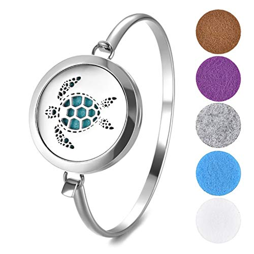 HXCSSK2 30mm Aromatherapy Bracelet Sea Turtle 316L Stainless Steel Bangle Essential Oil Diffuser Locket Bracelets with 5pcs Washable Refill Pads