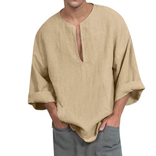 Hombre Camisas Lino Manga Larga Otoño Camiseta Abierta Cuello V Color Sólido Camisas Informales Anchas Suave Transpirable Blusa Casual Top(Beige,M)