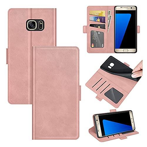 AKC Funda Compatible para Samsung Galaxy S7 Edge Carcasa Caja Case con Flip Folio Funda Cuero Premium Cover Libro Cartera Magnético Caso Tarjetero y Suporte-Oro Rosa