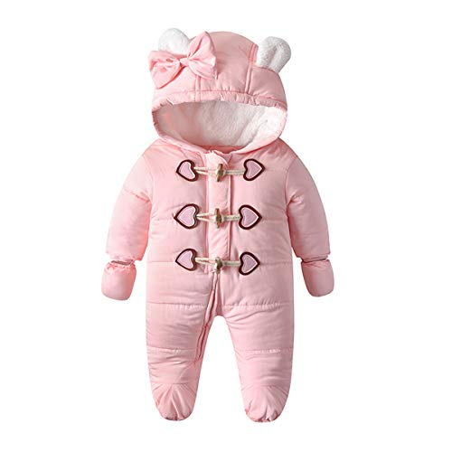 Verve Jelly Kleinkind Baby Winter Strampler Thermischer Wintermantel Dicker Reißverschluss Winddichter Overall Schneeanzug mit Handschuhen