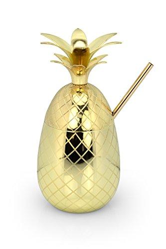 Moody Monkey Cocktailbecher Ananas Becher Gold - Pineapple Gorilla - 1 x Strohhalm + 1 x GRATIS Reinigungsbürste – Handgemacht Trinkbecher Edelstahl Moscow Mule Geschenk mit Rezepte E-Book