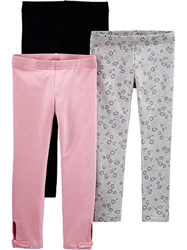 Simple Joys by Carter s Confezione da 3 Leggings Pants, Nero Rosa, Stampa Animalier, 2 Anni