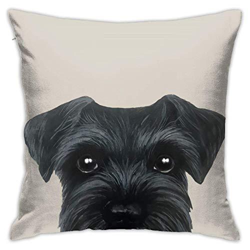 WH-CLA Couch Cushions Schnauzer Original Pintura Perro Cachorro Durable Oficina Cremallera Sofá Sofá Suave Fundas De Almohada Fundas De Cojín Fundas Coche 45X45Cm Sofá Cama De Regalo APA