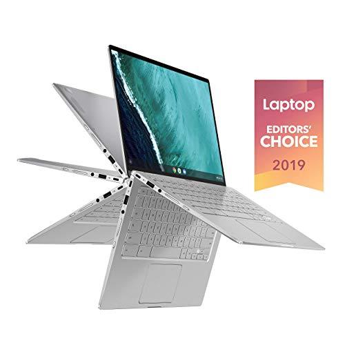 ASUS Chromebook Flip C434 2 in 1 Laptop, 14' Touchscreen FHD 4-Way NanoEdge Display, Intel Core M3-8100Y Processor, 4GB RAM, 32GB eMMC Storage Silver C434TA-DH342T (Renewed)