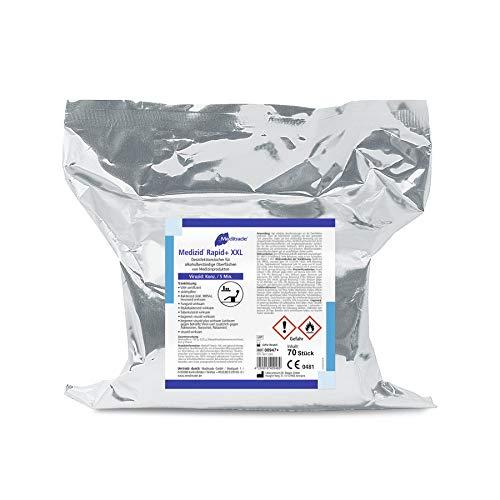 Alerion Medizid Rapid+ XXL Flächen Desinfektionstücher - 1 Nachfüllrolle = 70 Tücher, Tuchgröße: 26 x 29 cm für Alkoholbeständige Oberflachen