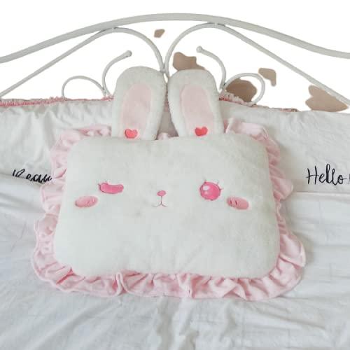 Almohada Almohada Cuadrada de Conejo Rosa con Lindas Orejas de Conejo, Almohada para habitación de Princesa y niña, decoración de Cama, Almohada para Dormir