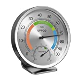 LittleGood 5' Indoor Outdoor Hygrometer/Thermometer, Humidity Gauge Indicator Temperature Humidity Monitor, Analog Hygrometer Humidor (English Version)