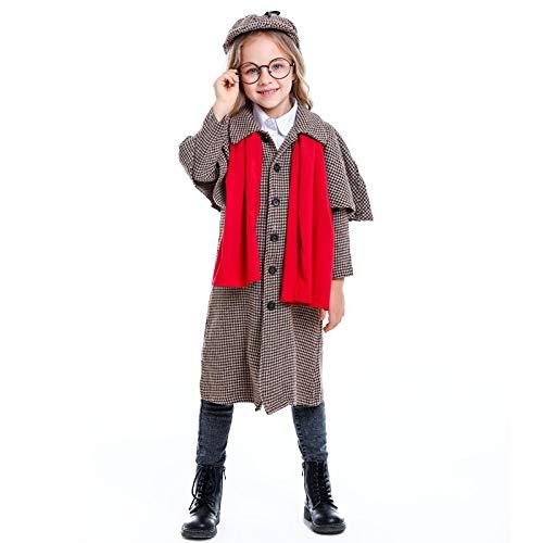 N / A Cosplay Halloween Novedad Regalo Personaje de pelcula Detective Sherlock Holmes Cosplay Unisex Disfraz de actuacin para nios Navidad Body Height:135-145cm