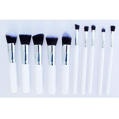 Portable Beauty Cosmetics Ensemble de 10 pinceaux de maquillage for maquillage Blending Blush Eyeliner Poudre Brush Baeuty Tool Concealer Brush (Couleur: Or) (Color : Silver)