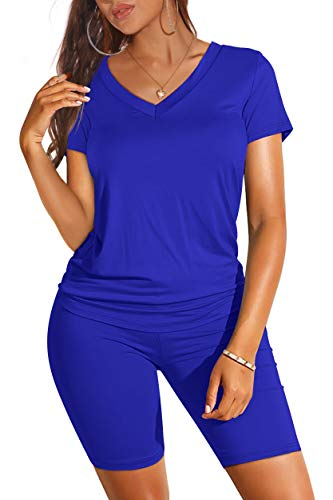 Shorts Sets for Women Casual Summer Sexy 2 Pic Workout Sets Blue S