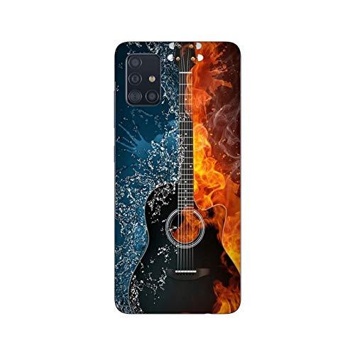 Funda Carcasa Compatible con Samsung Galaxy A51 Música Guitarra de Agua de Fuego/Imprimir también en los Lados. / Teléfono Hard Snap en Antideslizante Anti-Rayado Resistente a los Golpes rígid